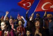 Jubelnde Erdogan-Anhänger nach der Abstimmung. (Bild: TOLGA BOZOGLU (EPA))