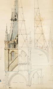 Restaurierungsplan Kathedrale von Lausanne (nach 1872), Stuhl nach altgriechischem Vorbild, Liftkabine aus Mailand (um 1890) und Stoffbahn aus Lyon. (Bild: ACV, V&A Museum London, MTMAD Lyon, Verkehrshaus Luzern)