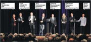 Beim TZ-Podium waren es noch sechs Kandidaten. Nur einer nimmt bis jetzt sicher am zweiten Wahlgang teil. (Bild: Donato Caspari/jbr)