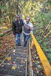 Solomon Tesfalen und Peter Brunner posieren auf einer der Treppen, die sie auf dem Wanderweg durch das Wängemer Hexentobel gebaut haben. (Bild: Olaf Kühne)