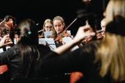 Das Thurgauer Jugend-Symphonieorchester bei seinem Konzert am Samstag im Kreuzlinger Dreispitz-Saal. (Bild: Donato Caspari)