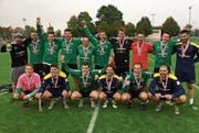 Die Wigoltinger in den grünen Trikots hatten nach dem Cupfinal mehr Grund zum Feiern als die Diepoldsauer. (Bild: PD)