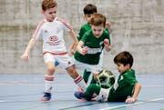 Der Kampfgeist der Kleinen ist gross. Junioren-Fussballer aus Märstetten spielen gegen die in grün spielenden Pfyner. (Bild: Donato Caspari)