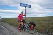 Die erste Etappe führte Evelyne Binsack mit dem Fahrrad bis ans Nordkapp. (Bild: PD)