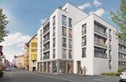 Im Albin-Pedrotti-Haus sollen 20 Mietwohnungen mit zwei, drei und vier Zimmern entstehen. Dazu kommt eine Tiefgarage. (Bild: Visualisierung: Carlos Martinez Architekten Rorschach AG)