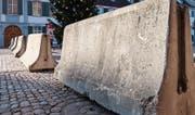 Solche Betonblöcke wie hier in Basel sollen auch in Wil mögliche Anschläge mit Fahrzeugen verhindern. (Symbolbild: Keystone)