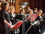 27 Vokalisten, mit zwölf Soli-Sängerinnen und -Sängern, denen die Weltbühnen nicht fremd sind, boten ein tiefgreifendes Chorkonzert, dessen Inhalt aktueller nicht sein könnte. (Bild: Heidy Beyeler)