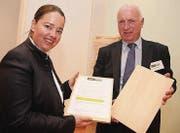 Regierungsrätin Carmen Haag unterstützt die Protestaktion von Vereinspräsident Josef Imhof. (Bild: Christof Lampart)