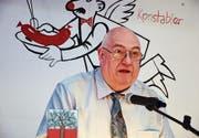 Fredy Strupler verliest seine letzte Langdorfer Jahreschronik an der kürzlichen Quartiervereinsversammlung. (Bild: Mathias Frei)
