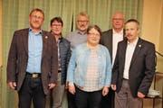 Die EDU-Vertreter: Daniel Frischknecht, Hans Trachsel, Peter Schenk, Marlis Bornhauser, Iwan Wüst, Christian Mader. (Bild: Christof Lampart)