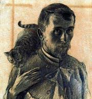 Der Künstler mit Katze: Selbstbildnis aus frühen Jahren (1893). (Bild: Katalog)