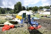 Am frühen Montagnachmittag im Sittertobel: Überbleibsel des Open Airs. (Bild: Ralph Ribi)
