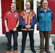 Das Siegertrio: Gerry Kammerer (PS Sennwald), Jürg A. Davatz (PS Liechtenstein) und Hans Müller von der PS Buchs (von links). (Bild: PD)