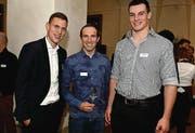 Sportler: Fabian Frei, Michael Albasini und Samuel Giger. (Bild: Nana do Carmo / TZ)