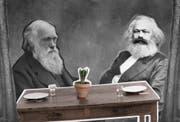 Obwohl beide jahrzehntelang in London lebten und sich Bücher schickten, trafen sie sich nie: Charles Darwin und Karl Marx. (Bild: Illustration (Patrick Federli und Sandra Näf)