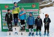 Die schnellsten U12-Knaben im ersten Rennen: Gino Gosetti, Cedrik Bartholet, Terry Abderhalden, Luca Gantenbein, Kevin Roth sowie Andrin Alpiger (von links). (Bild: PD)