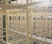 Vom Keller durchs Labyrinth nach oben: Erstaunliche Einblicke und neue Raumerlebnisse gewährt die Installation des Künstlerkollektivs CKÖ dem Kunsthalle-Besucher. (Bilder: Martin Preisser)