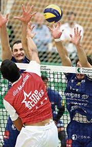 Auf die Amriswiler (blau) wartet eine schwierige Viertelfinalserie. (Bild: Mario Gaccioli (Amriswil, 4. November 2017))