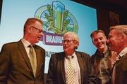 Der fast komplette Verwaltungsrat (v. l.): Präsident Peter Hochuli, Martin Wartmann, Hansueli Wagner und Stefan Mühlemann. (Bild: Mathias Frei)