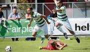 Verkehrte Welt: Die Kreuzlinger (Zvonimir Fantov, links, und Filipe Vieira) überrannten ihren Cupgegner aus der Challenge League in den ersten Minuten. (Bild: Mario Gaccioli)