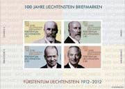 Der Sonderblock der Philatelie Liechtenstein, herausgegeben am 1. Februar 2012 – genau hundert Jahre nach der ersten Briefmarkenserie. (Bild: pd)