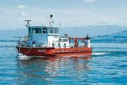 Das Forschungsschiff Kormoran auf einer Vermessungsfahrt.