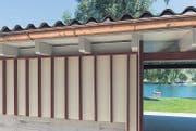 Bauliche Liaison: Feingliedriger Badesteg aus Beton (1949), verbunden mit Eingangsportal mit Blick auf das Rheinwasser, das erweiterte Übungsbecken und der Blick auf den Garderobentrakt. (Bilder: Hanspeter Schiess)