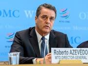 Der Chef der Welthandelsorganisation WTO, Roberto Azevêdo, wiederholt die Vorzüge des Welthandels stets von Neuem. (Bild: KEYSTONE/MARTIAL TREZZINI)