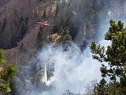 Der Waldbrand in Günsberg SO wurde Mitte April mit einem Helikopter bekämpft. (Bild: Kantonspolizei Solothurn)