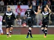 Die Spieler des FC Lugano wollen auch am Samstag in Zürich jubeln (Bild: KEYSTONE/JEAN-CHRISTOPHE BOTT)