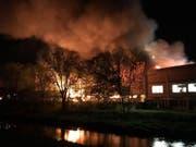 Flammen und dicker, stinkender Rauch dringen aus der brennende Gewerbehalle. (Bild: Polizei Basel-Landschaft)
