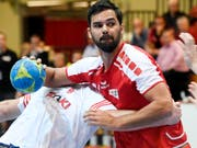 Lukas von Deschwanden (hier im Trikot des Schweizer Nationalteams) war Thuns bester Torschütze im ersten Playoff-Halbfinal-Duell mit Bern-Muri (Bild: KEYSTONE/WALTER BIERI)