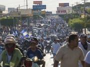 In Nicaraguas Hauptstadt Managua gingen erneut Tausende Menschen auf die Strasse. (Bild: KEYSTONE/EPA EFE/JORGE TORRES)