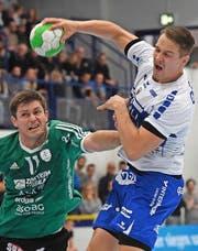 Peter Schramm (rechts) ist der Krienser Matchwinner. Bild: Markus Grunder (Thun, 16. November 2016)