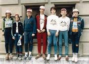 Simon Hofstetter (ganz rechts) 1982 vor dem Start zum Stadtlauf. (Bild: SH)