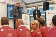 Grussworte an die Delegation aus Bellinzona – zweisprachig: der Luzerner Stadtpräsident Beat Züsli. (Bild: Heinz Steimann)