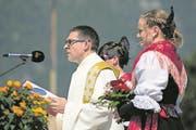 Pfarrer Daniel Krieg während der Sonntagsstille. (Bild: Pius Amrein/LZ, Altdorf, 28. Mai 2017)