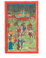 Illustration: Ein Schwing- und Steinstossfest in Entlebuch im 16. Jahrhundert. (Bild: PD)