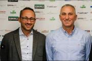 HCK-CEO Nick Christen, links, mit dem künftigen Trainer, Goran Perkovac. (Bild: PD)