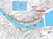 Der Streckenplan des 40. Luzerner Stadtlaufs. (Bild: Grafik LZ)