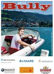 Titelseite des Eishockey-Magazins «Bully»: Lino Martschini ist die Identifikationsfigur beim EV Zug – fotografiert auf dem Zugersee. (Bild Stefan Kaiser)