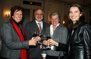 FDP-Nationalrat Georges Theiler mit seinen Ratskolleginnen Ida Glanzmann-Hunkeler (CVP), FDP-Ständerätin Helen Leumann-Wyrsch und Yvette Estermann (SVP, von links). (Bild André Häfliger/Neue LZ)