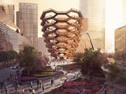 """Modell der Hudson-Yards-Überbauung mit dem Hauptplatz, den Gärten und dem """"Schiff"""". (Bild: KEYSTONE/AP Related-Oxford)"""