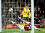 Der Moment, der Arsenal den Abend verdirbt: Antoine Griezmann gleicht für Atletico Madrid zum 1:1 aus (Bild: KEYSTONE/AP/MATT DUNHAM)