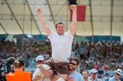 Andi Imhof ist der Sieger des Innerschweizer Schwingfests in Seedorf. (Bild: Keystone)