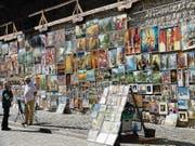 Bilderwand am Florianstor bei der ehemaligen Stadtmauer. (Bild: Silvia Schaub)