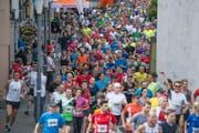 Wahrlich ein Volkslauf: Über 1300 Läuferinnen und Läufer nahmen dieses Jahr teil. (Bild: Pius Amrein, Luzerner Zeitung / Sempach, 1.6.2017)