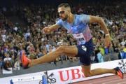 Karim Hussein läuft über 400 Meter Hürden aufr Rang 3. (Bild: Keystone, Jean-Christophe Bott/ Zürich, 24. August 2017)