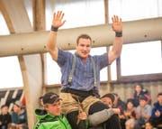 Joel Wicki gewinnt das 45. Halleschwinget. (Bild: Roger Grütter (Sarnen, 11. März 2018))