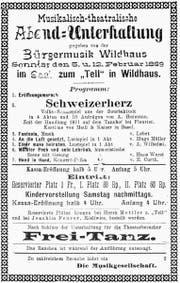Plakat der Theateraufführung 1899.